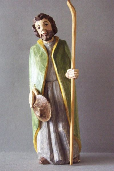 Josef stehend, Holzscheitlkrippe Unikat