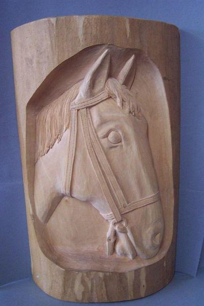 Pferdekopf Lindenholz natur
