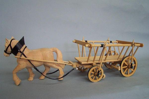 Leiterwagen mit 1 Pferd, Lindenholz natur