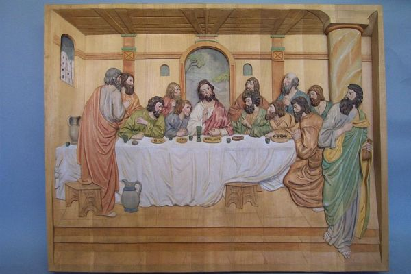 Abendmahl zum Hängen, Lindenholz lasiert