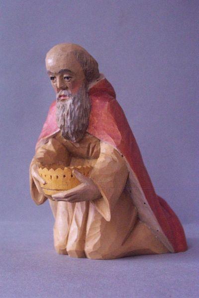 König 1 Melchior kniend, Weymouthskiefer lasiert