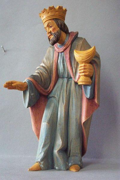 König 2 Baltasar stehend, Weymouthskiefer lasiert