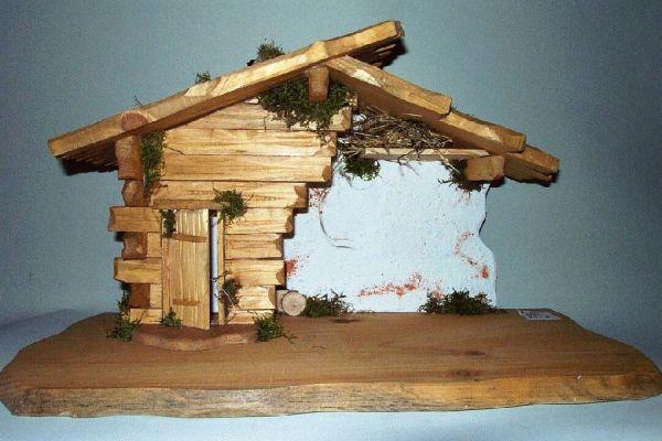 Holzhütte hell Für Figuren von 12 - 16cm