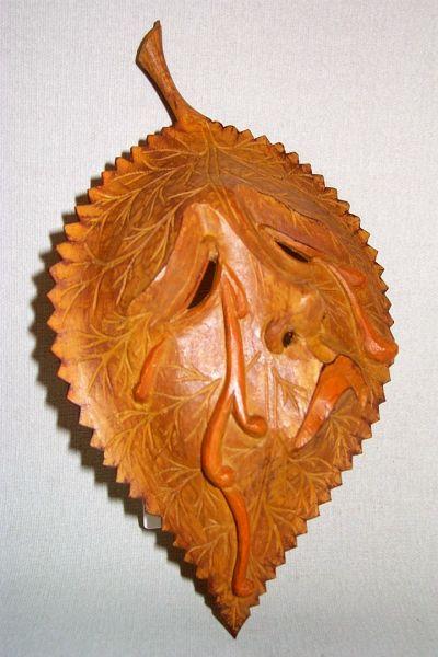 Lindenblatt braun Masken Unikat