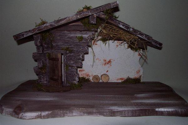 Holzhütte grau Für Figuren von 12 - 16cm