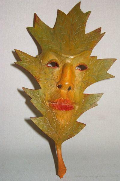 Spitzahorn grün-gelb Masken Unikat