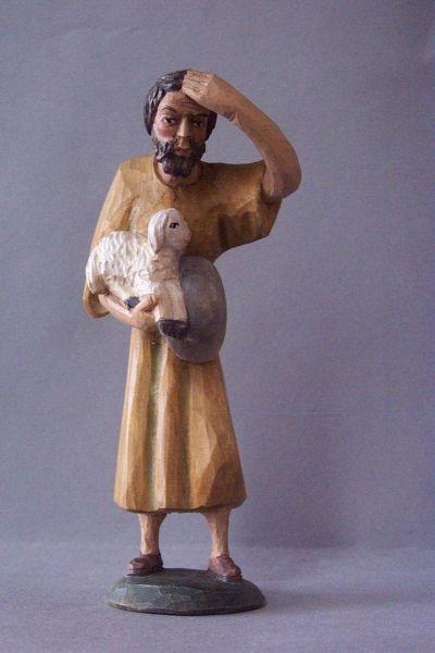 Hirte 1 mit Schaf, Weymouthskiefer lasiert