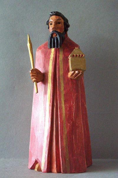 König 2 Baltasar stehend, Holzscheitlkrippe Unikat