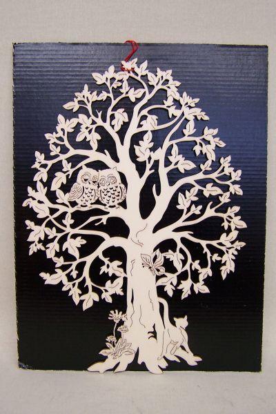 Baum mit Eulen & Katze