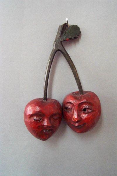 Kirsch-Paar Masken Unikat