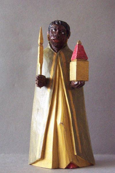 König 3 Kaspar stehend (Mohr), Holzscheitlkrippe Unikat