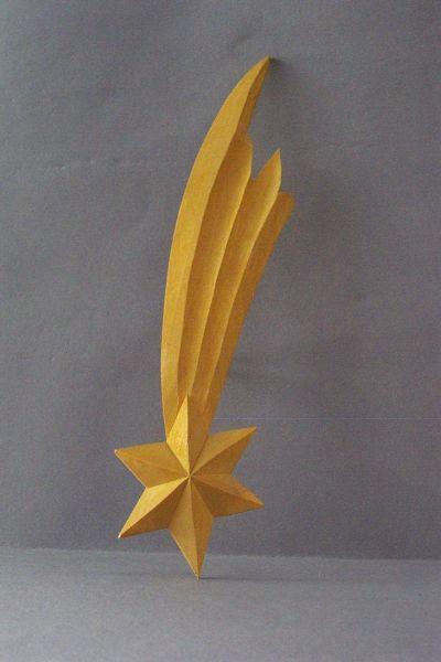 Stern gelb bemalt Lindenholz