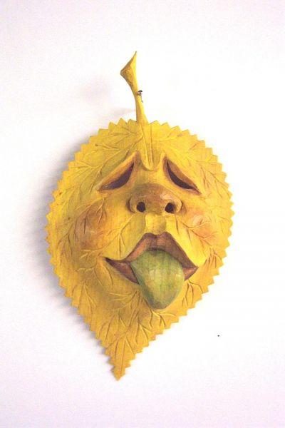 Lindenblatt gelb Masken Unikat