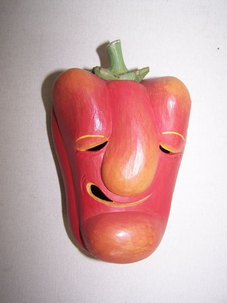 Paprika rot, gelb o. grün Masken Unikat