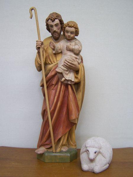Gute Hirte Josef mit Kind lasiert