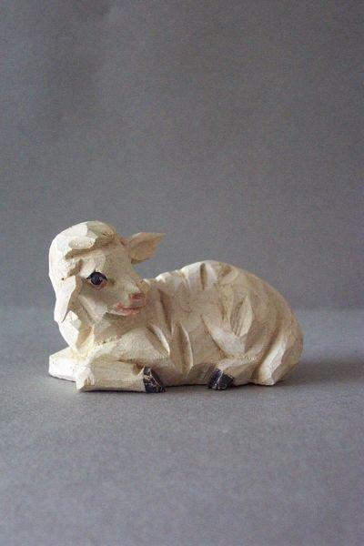 Schaf 3 liegend, Holzscheitlkrippe Unikat